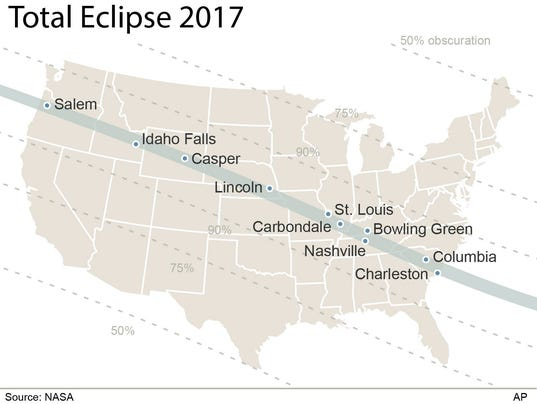 Solar Eclipse Map The Path Of Totality Through Tennessee - Us total eclipse 2017 map