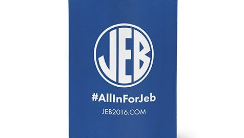 A Jeb Bush koozie with a logo that resemble the SEC logo. The item had been on sale on Bush's website for $5.