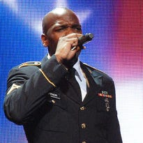 "Then-Cpl. Jeremy Gaynor opens a 2012 performance of the Army Soldier Show with the national anthem. The staff sergeant will sing on NBC's ""The Voice"" next month."