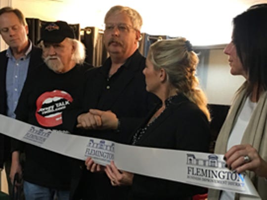 Jersey Talk Radio recently launched in Flemington. Pictured from left to right are Hunterdon County Freeholder Matt Holt, Jersey Talk Radio hosts Richard Gerstner and Bruce Pearson, Flemington Business Improvement District Director Megan Jones-Holt, and Roseanna Di Marzio of The Grill Shack.