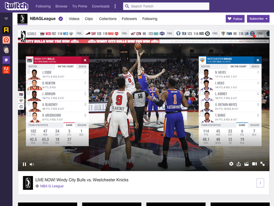 A screenshot of NBA G League streaming on Twitch.