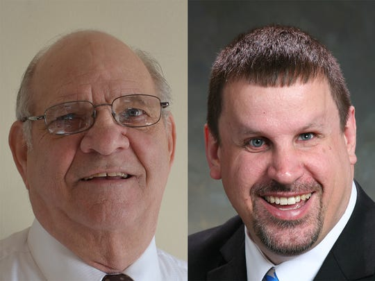 Randy Meyer, right, Sheboygan Falls' incumbent mayor, appeared to hold off challenger Tom Bigler in early voting Tuesday night.