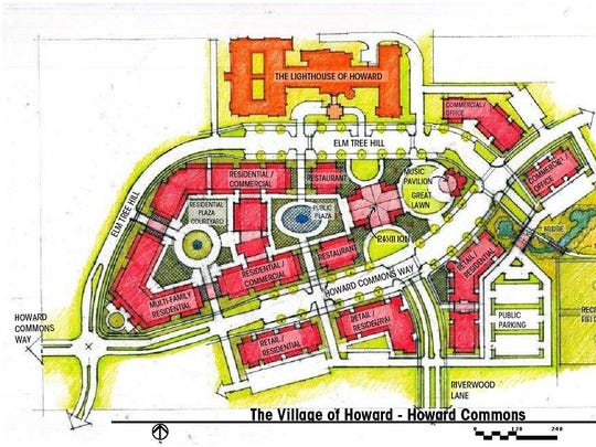 The plans call for construction of two streets, Elm Tree Hill and Howard Commons Way, to the north of Riverview Drive that would border the pavilion, great lawn and public plaza village officials envision.