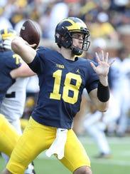 Michigan quarterback Brandon Peters in the spring game