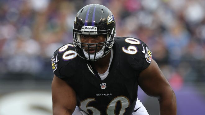 Eugene Monroe became the Ravens' starting left tackle after being acquired midway through the 2013 season.