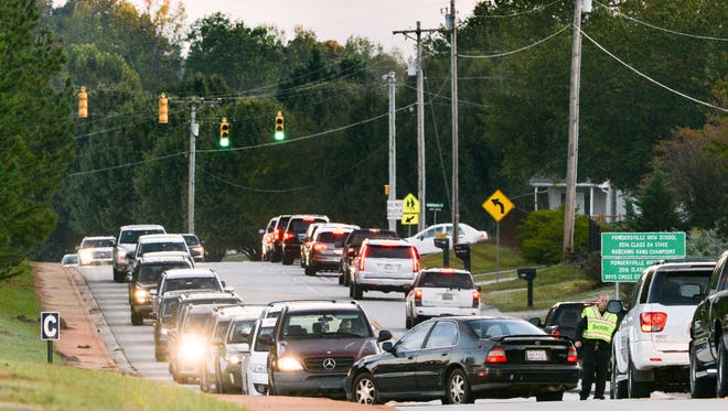 Powdersville residents said last year that uncontrolled growth caused traffic jams on area roads, especially Hood Road in front of the middle school, high school, and elementary schools. A new entry point to the back of the middle school, off of Roe Road, is expected to help lighten the load on Hood Road.