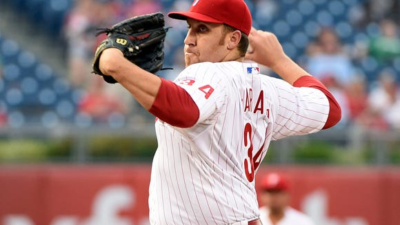 Phillies starting pitcher Aaron Harang throws a pitch against the Milwaukee Brewers at Citizens Bank Park. Credit: Eric Hartline-USA TODAY Sports