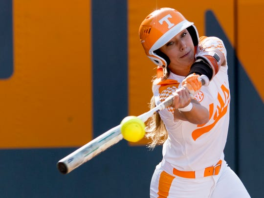 Tennessee utility Scarlet McSwain (3) swings during a game between Tennessee and Georgia at Sherri Parker Lee Stadium in Knoxville, Tennessee on Saturday, March 31, 2018.