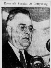 A clipping from the July 5, 1938 edition of the Evening Sun features a photo of President Roosevelt giving his speech.