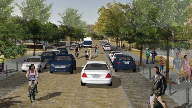 This artist's rendering depicts revamped Hickory Street, looking north toward Holmes Regional Medical Center.