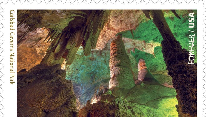 The stamp depicting Carlsbad Caverns is shown.