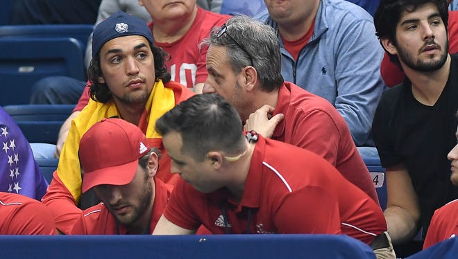 Belmont tennis player Vincent Sterkens watches his home country Belgium take on USA in the 2018 Davis Cup World Group Quarterfinal at Curb Event Center Friday, April 6, 2018, in Nashville, Tenn.