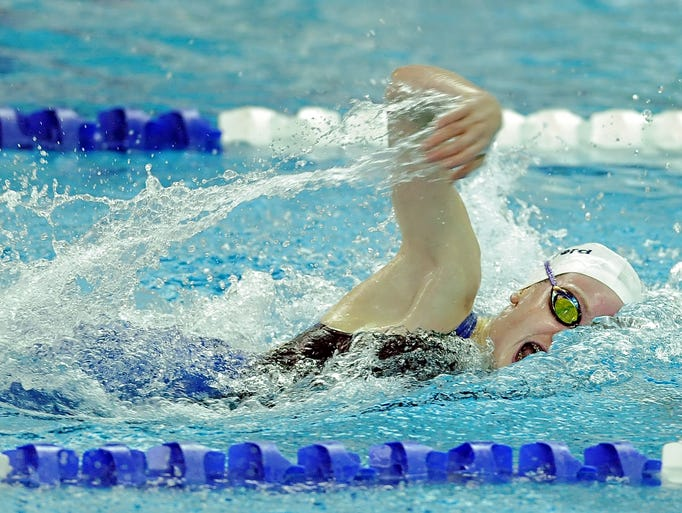 Pittsford's Katie Smith wins the 100-yard freestyle with a time of 51.22 Friday.