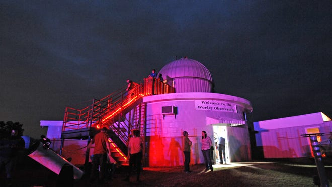 People at a recent Shreveport-Bossier Astronomical Society night event at the Ralph Worley Observatory.