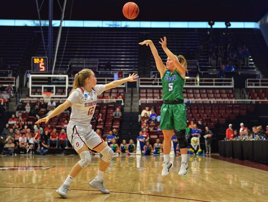 Florida Gulf Coast University's Lisa Zderadicka scores three during the second round against the Stanford Cardinal in an NCAA women's basketball tournament game at Maples Pavilion at Stanford University on Monday.
