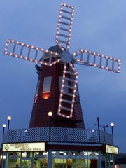 The WindMill building in Long Branch at dusk.