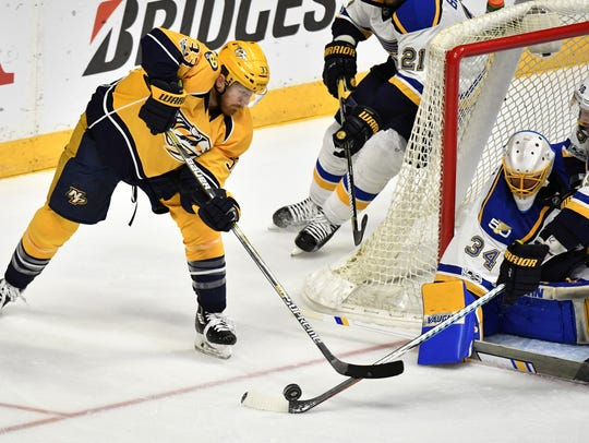 Nashville Predators left wing Colin Wilson (33), playing