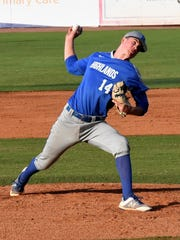 Grady Cramer pitches in relief for Highlands at the