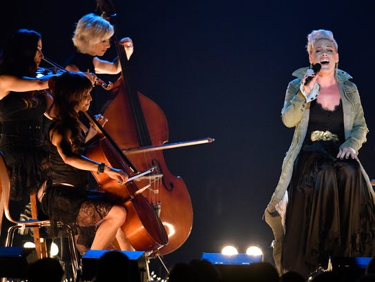 Pink performs during the CMA Awards Wednesday, Nov.