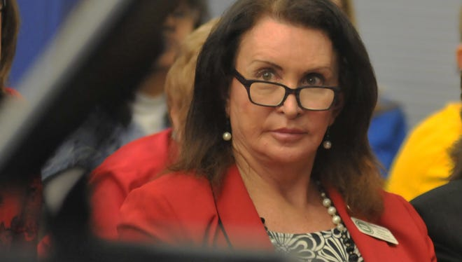 "Gina Duncan, state director of transgender equality for Equality Florida, is pictured during a February 2016 Palm Bay City Council meeting. Duncan was among those who spoke in favor of a human rights ordinance that, as proposed, would have guaranteed ""freedom from discrimination because of age, race, color, religion, national origin, disability, marital status, familial status, sex, sexual orientation, or gender identity and expression."" It was rejected by the council in a 4-1 vote."