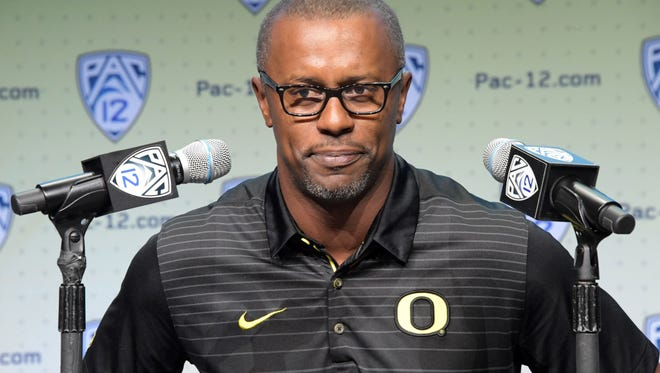 Oregon Ducks coach Willie Taggert speaks during Pac-12 media day on July 27, 2017.