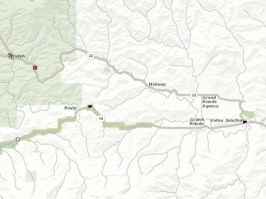 Highway 22 is closed 13 miles north of the intersection
