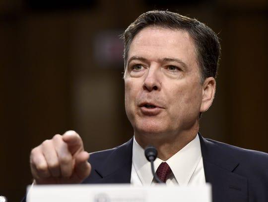 Former FBI director James Comey testifying before Senate Intelligence panel on Capitol Hill on June 8, 2017.