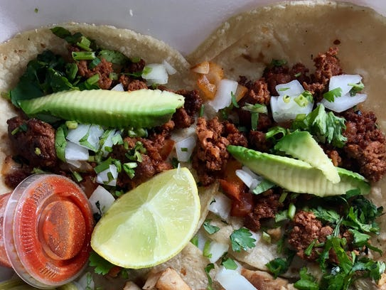 Chorizo tacos and pork tacos from Taqueria La Bamba