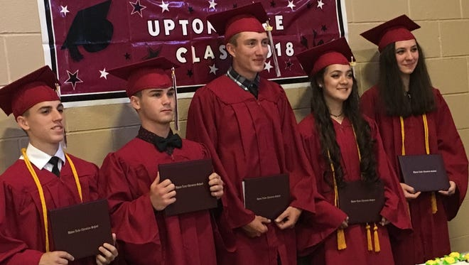 Upton Lake Christian School's graduating class included, from left, Anthony Martino, Noah Natale, Matt Schrom, Bethany Folchi and Katie Eckler.