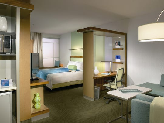 Typical room in a SpringHill Suites by Marriott hotel.