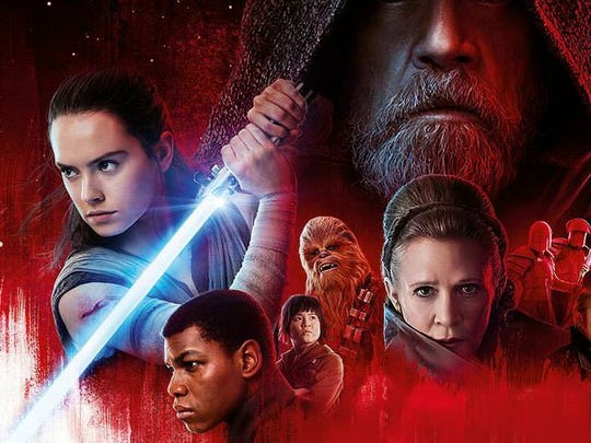 """A detail from a publicity poster for """"Star Wars: The Last Jedi."""""""