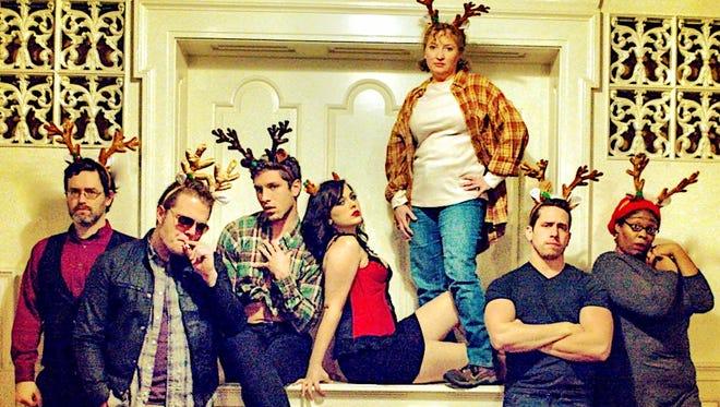 "Eric Ventress, left, Bradley Moore, Taylor Novak, Jenna Pryor, Cat Arnold, Austin Olive, Jennifer Whitcomb-Oliva in Music City Theatre's ""The Eight: Reindeer Monologues"""