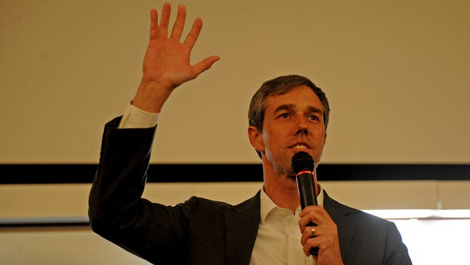 Rep. Beto O'Rouke gives a speech during his town hall Friday, Feb. 16, 2018, at Midwestern State University's Dillard College of Business Administration.