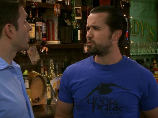 """The Deer Park Tavern's logo prior to the restaurant's purchase by the Ashby Hospitality Group in 2001 appeared  on a vintage t-shirt worn in an episode of """"It's Always Sunny in Philadelphia."""""""