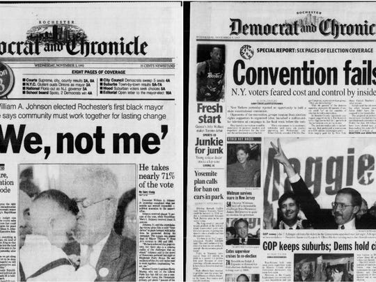 The cover pages of the Democrat and Chronicle on  Nov.