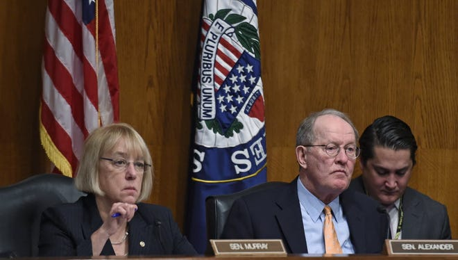 Senate Health, Education, Labor and Pensions Committee Chairman Sen. Lamar Alexander, R-Tenn.,and ranking member Sen. Patty Murray, D-Wash., listen to testimony during a hearing on the No Child Left Behind law on Capitol Hill on Jan. 21, 2015.