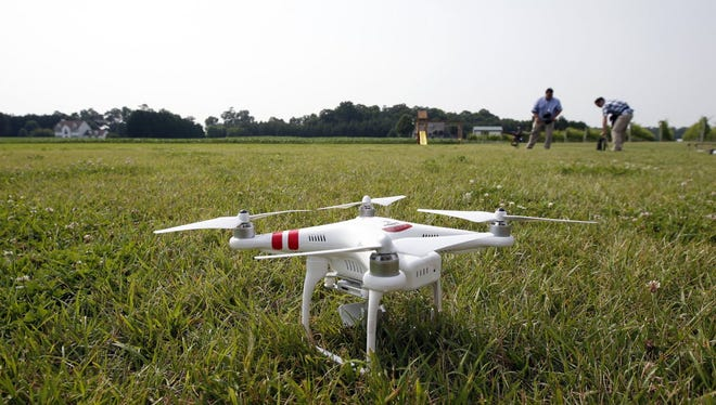 A DJI Phantom 2 drone is seen during a drone demonstration at a farm and winery, on potential use for board members of the National Corn Growers, Thursday, June 11, 2015