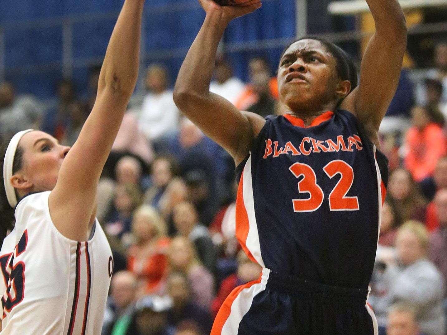 Blackman's Crystal Dangerfield (32) will play in the McDonald's All-American Game on Wednesday in Chicago.