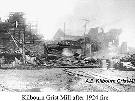 The A.B. Kilbourn Grist Mill after the fire of 1924 in Bristol.