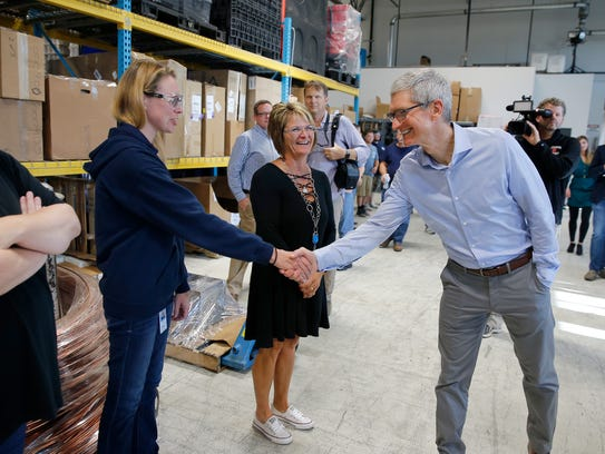 Apple CEO Tim Cook meets employess at Cincinnati Test