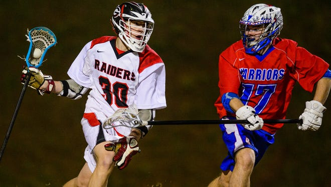 Dante Nordon (30) and the Greenville Red Raiders are seeded second in Class AAAA, while Kevin Kerr (17) and the Riverside Warriors are No. 12 in AAAAA in the upcoming lacrosse playoffs.