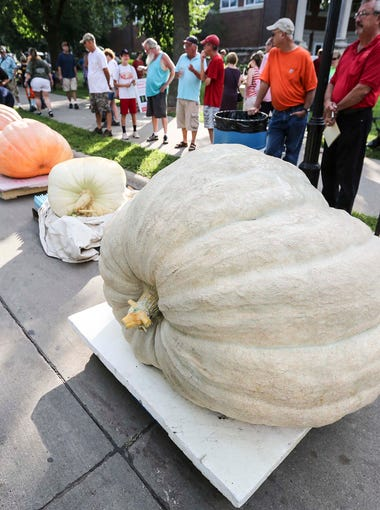 Fairgoers check out the Big Pumpkin Contest at the Iowa State Fair on Aug. 14.