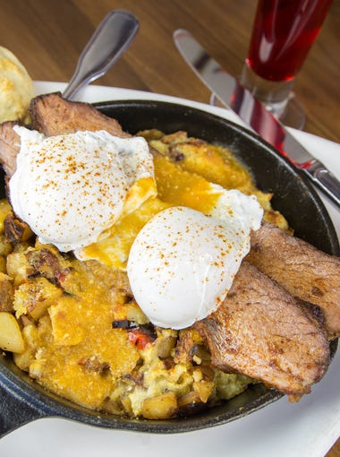 The smoked brisket and corn bread hash at The Hash Kitchen.