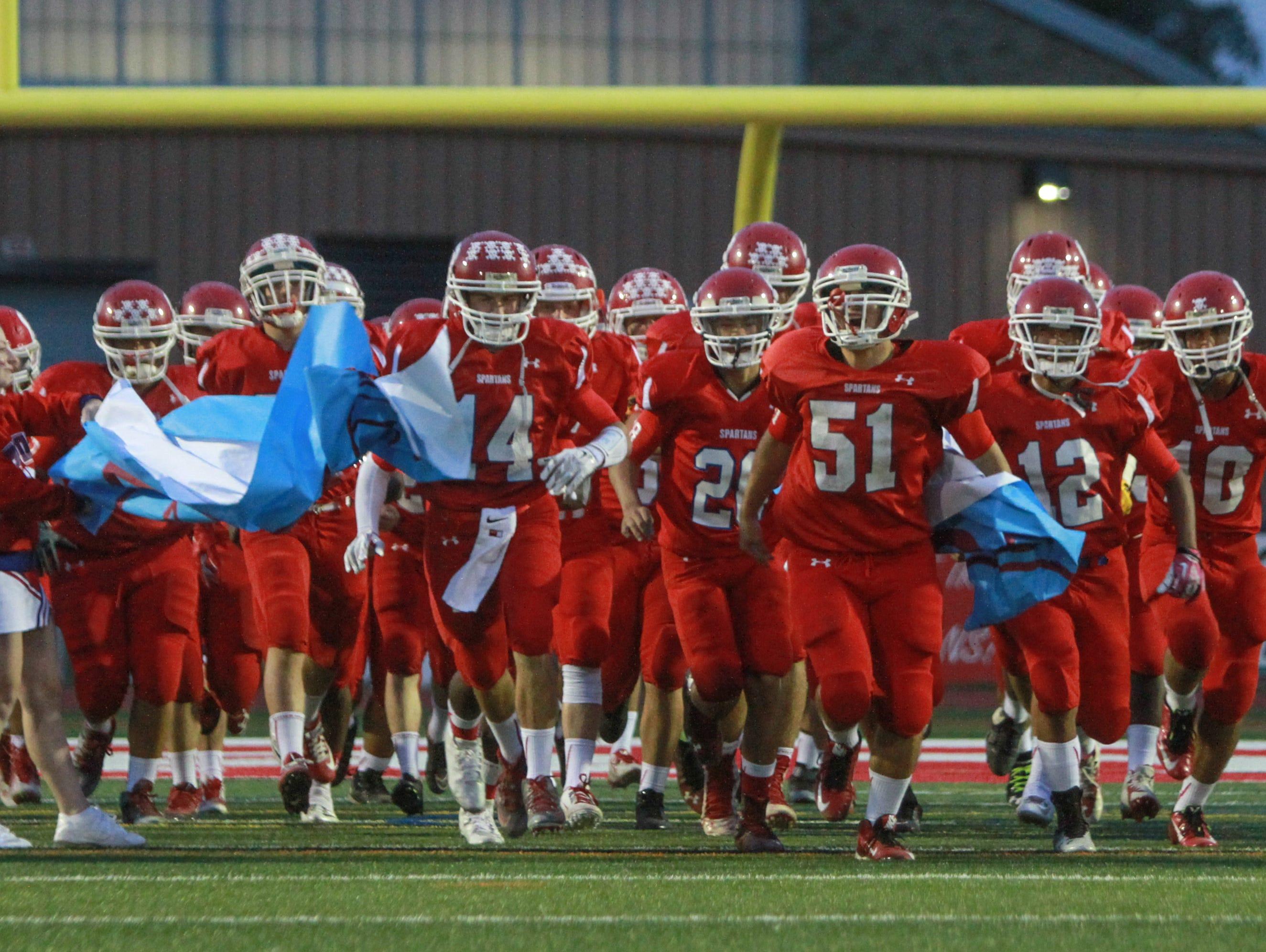 Ocean, NJ Red Bank at Ocean Friday night football. Ocean enters the field 092415
