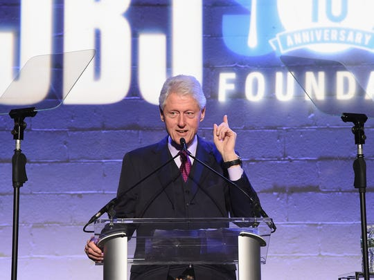 President Bill Clinton speaks onstage at the Jon Bon Jovi Soul Foundation's 10 year anniversary at the Garage on October 6, 2016 in New York City.