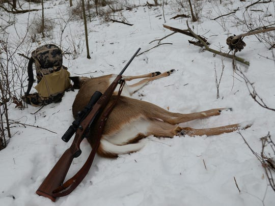 Patrick Durkin got this doe at mid-afternoon Dec. 30 while hunting on his cousin's farm in Richland County.