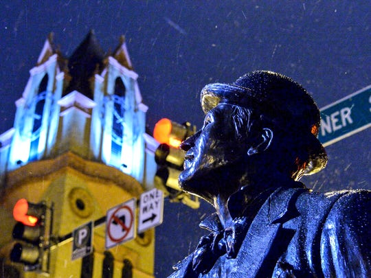 Snow falls on the Whitner statue in downtown Anderson on Wednesday, January 17, 2018.