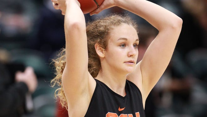 Apr 2, 2016; Indianapolis, IN, USA; Oregon State Beavers guard Katie McWilliams (10) passes the ball during practice at Bankers Life Fieldhouse. Mandatory Credit: Brian Spurlock-USA TODAY Sports