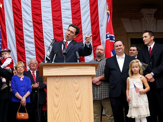 In this 2013 file photo, Chris McDaniel, state senator for the 42nd District, announces that he will challenge longtime U.S. Senator Thad Cochran in the 2014 Republican primary during a press conference at the Jones County Courthouse`in Ellisville.