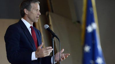 File photo: Sen. John Thune speaks at a ceremony to award Delmar Strunk, 92, a Bronze Star for his involvement as one of Merrill's Marauders in WWII on May 28, 2014.